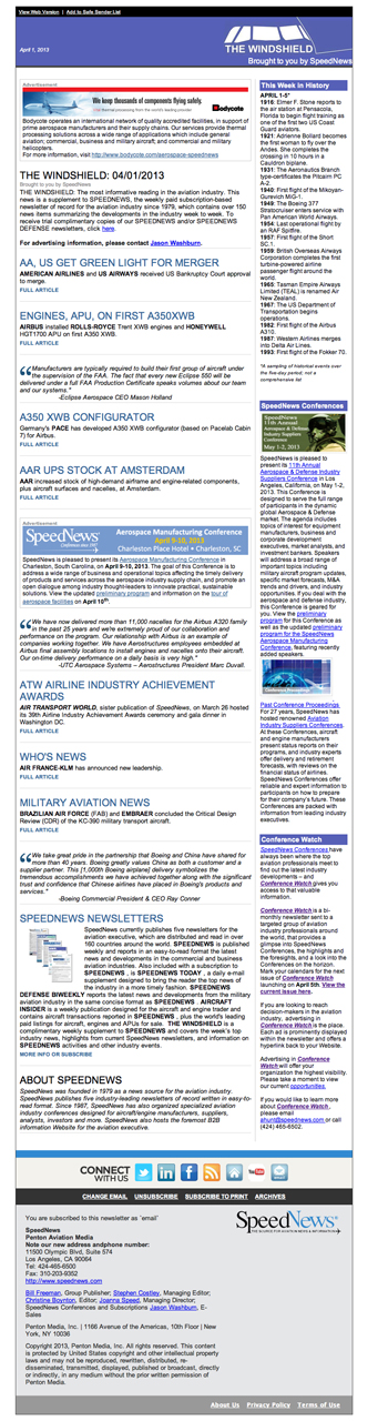 Windshield Newsletter Sample